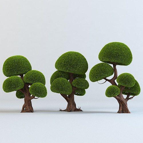 cartoon trees set 3d model max obj fbx mtl 1