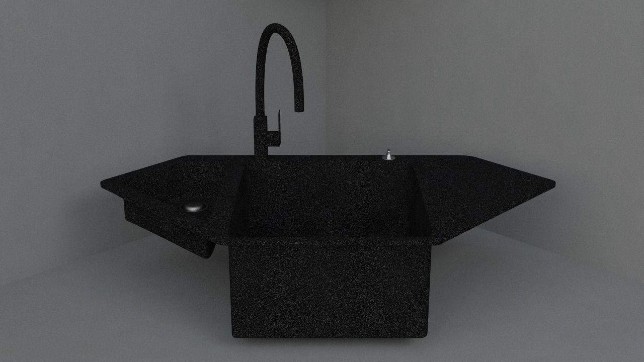 granite corner kitchen sink 3d model obj 3ds fbx c4d dae