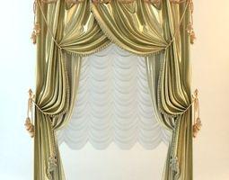 3D model Elegant Baroque Wide Curtains