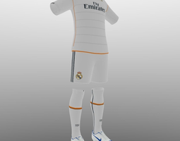 real madrid home soccer kit 3d model obj 3ds fbx blend dae mtl