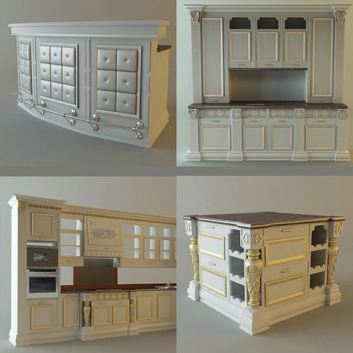 Collection Kitchen Cabinets And Appliances 3D Model