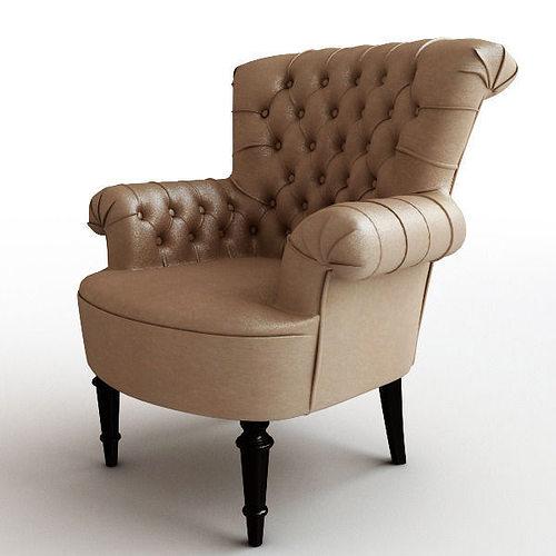 classical leather armchair 3d model max obj mtl 3ds fbx unitypackage prefab 1