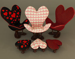 Sweet Heart Chair 3D