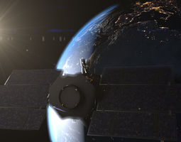 animated photorealistic earth and cloudsat satellite 3d model