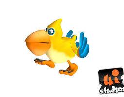 toon bird realtime animated 3d asset