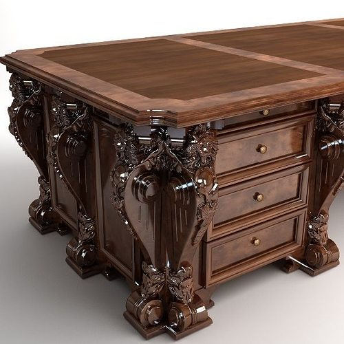 Photorealistic Antique Wooden Desk 2 3d Cgtrader