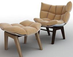 3D model Stylish Armchair and Ottoman