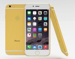 iphone 6 gold plated 3d model low-poly obj blend