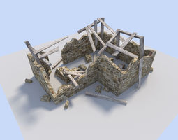 ruined house 3d model low-poly obj 3ds fbx blend dae
