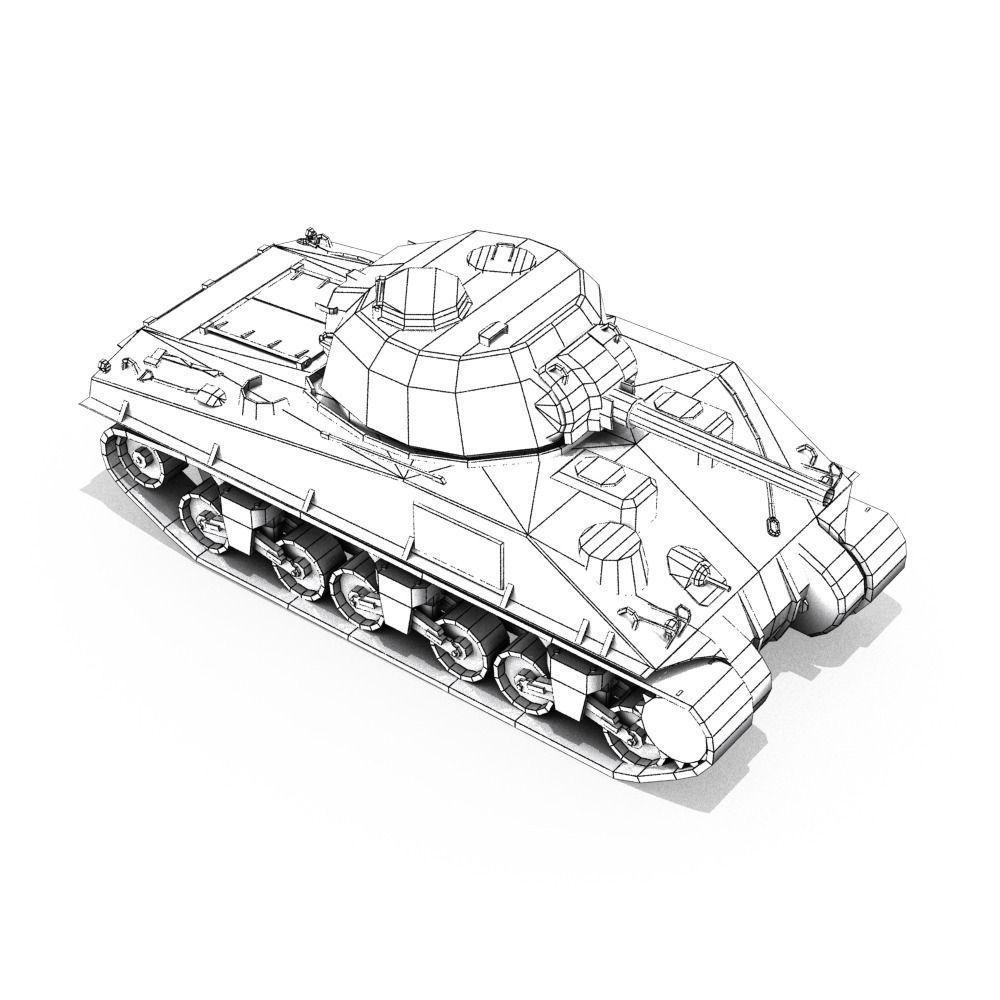 3D model M4 Sherman Tank VR / AR / low-poly MAX OBJ 3DS ...