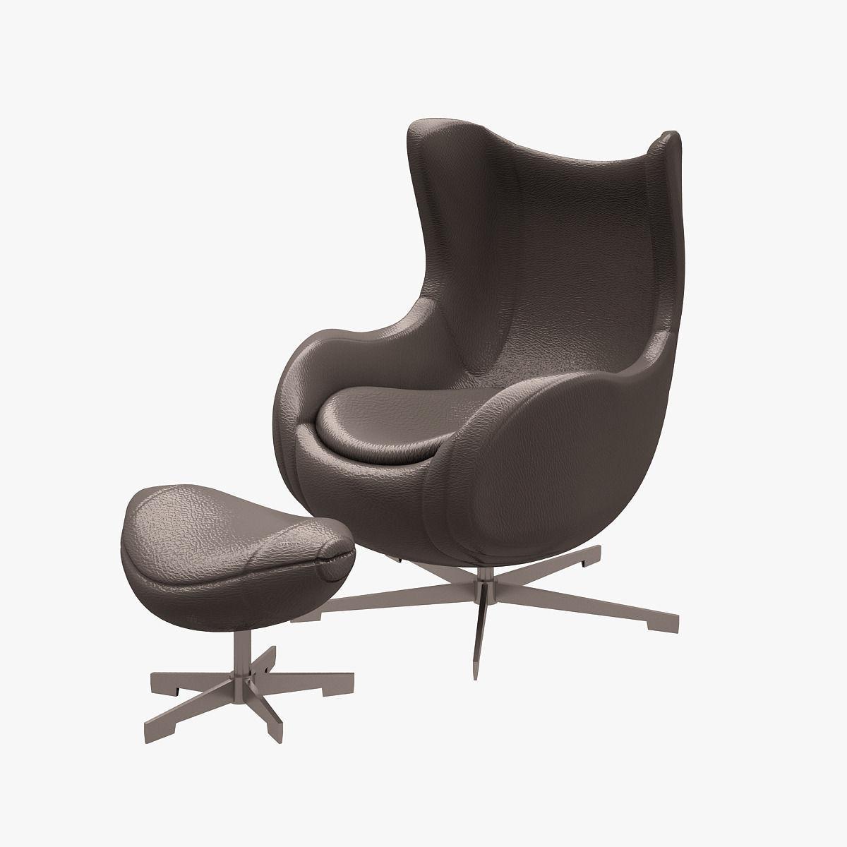 3d model egg chair arne jacobsen vr ar low poly max obj fbx mtl. Black Bedroom Furniture Sets. Home Design Ideas