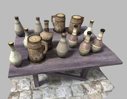 low poly medieval drinks pack VR / AR ready 3d model