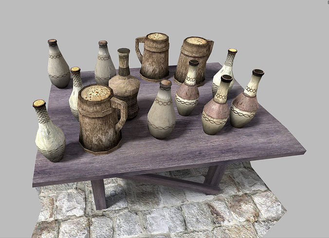 low poly medieval drinks pack 3d model low-poly obj mtl 3ds fbx blend dae X 1