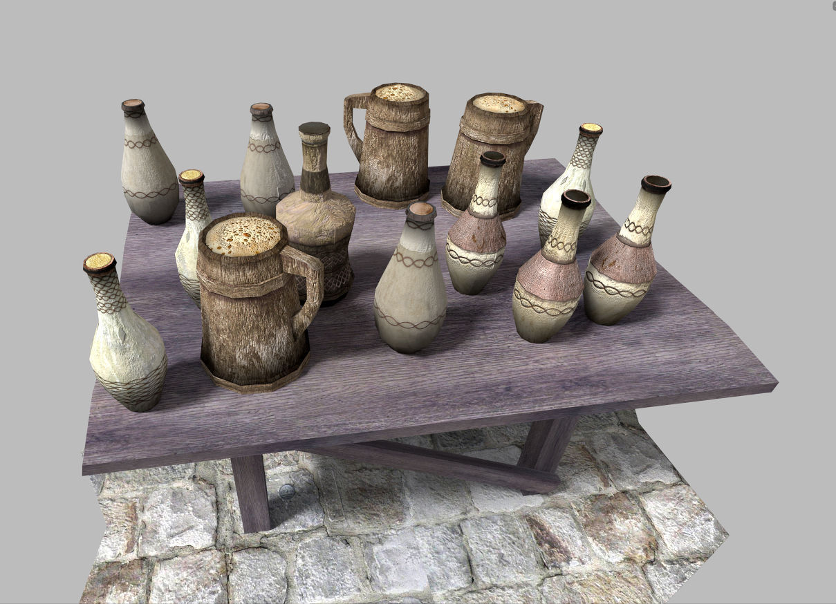 3D Asset Low Poly Medieval Drinks Pack
