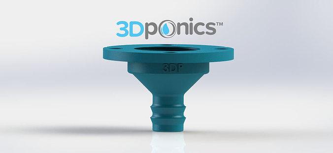 4-hole drip nozzle 3-4 inch - 3dponics drip hydroponics 3d model obj mtl stl sldprt sldasm slddrw 1
