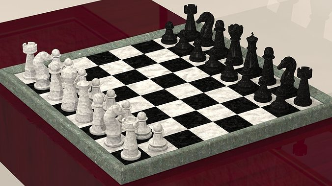 chess board with pieces 3d model obj mtl stl 1