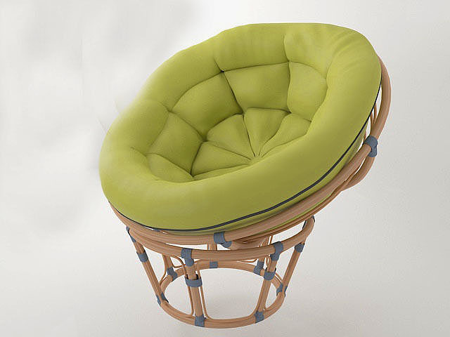 Round Wicker Chair Papasan 3d Cgtrader