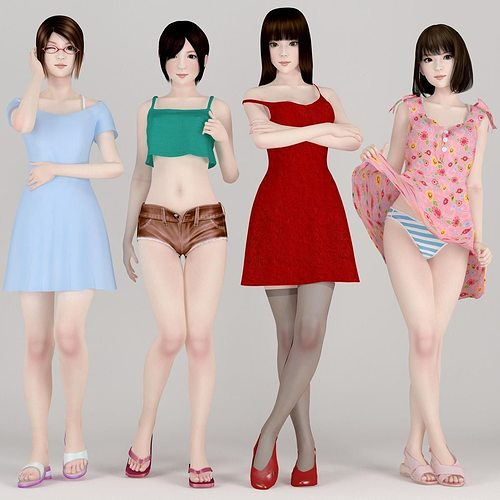 4 girls daily outfit pose 01 3d model max fbx 1