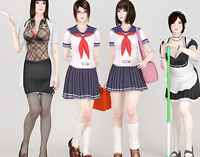 4 uniform girls pose 01 3D