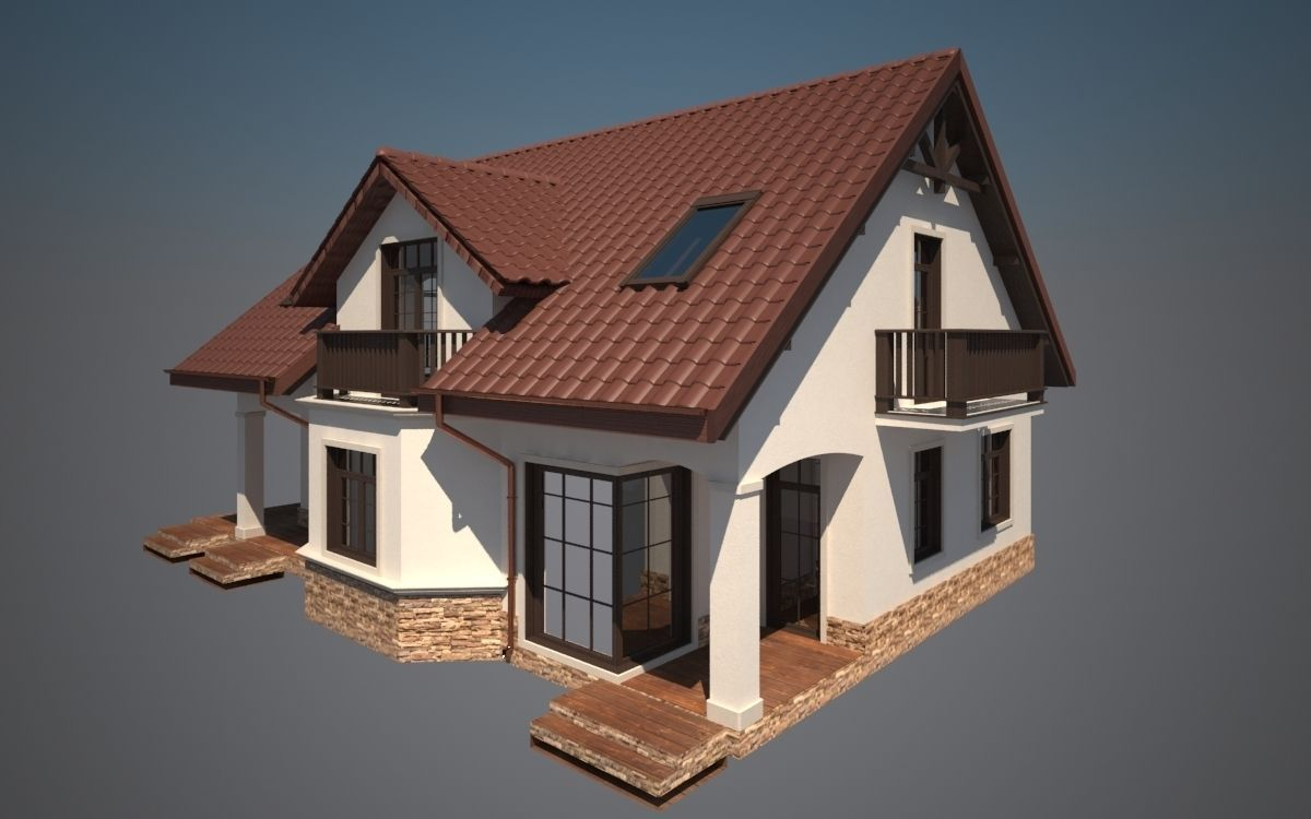 Cottage house 3d model 3d printable max obj 3ds fbx stl for Free 3d house models