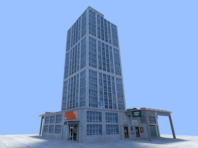 city skyscraper 3d model obj 3ds fbx blend dae x3d 1 ...
