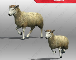 sheep animated low-poly 3d asset
