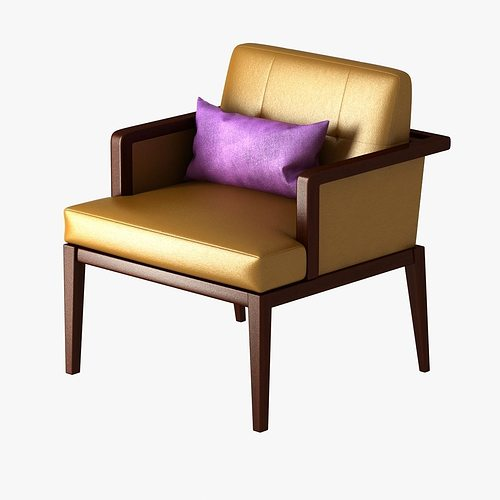 Cushioned Yellow Leather Sofa 3d: Yellow Chair With Violet Cushion 3D Model