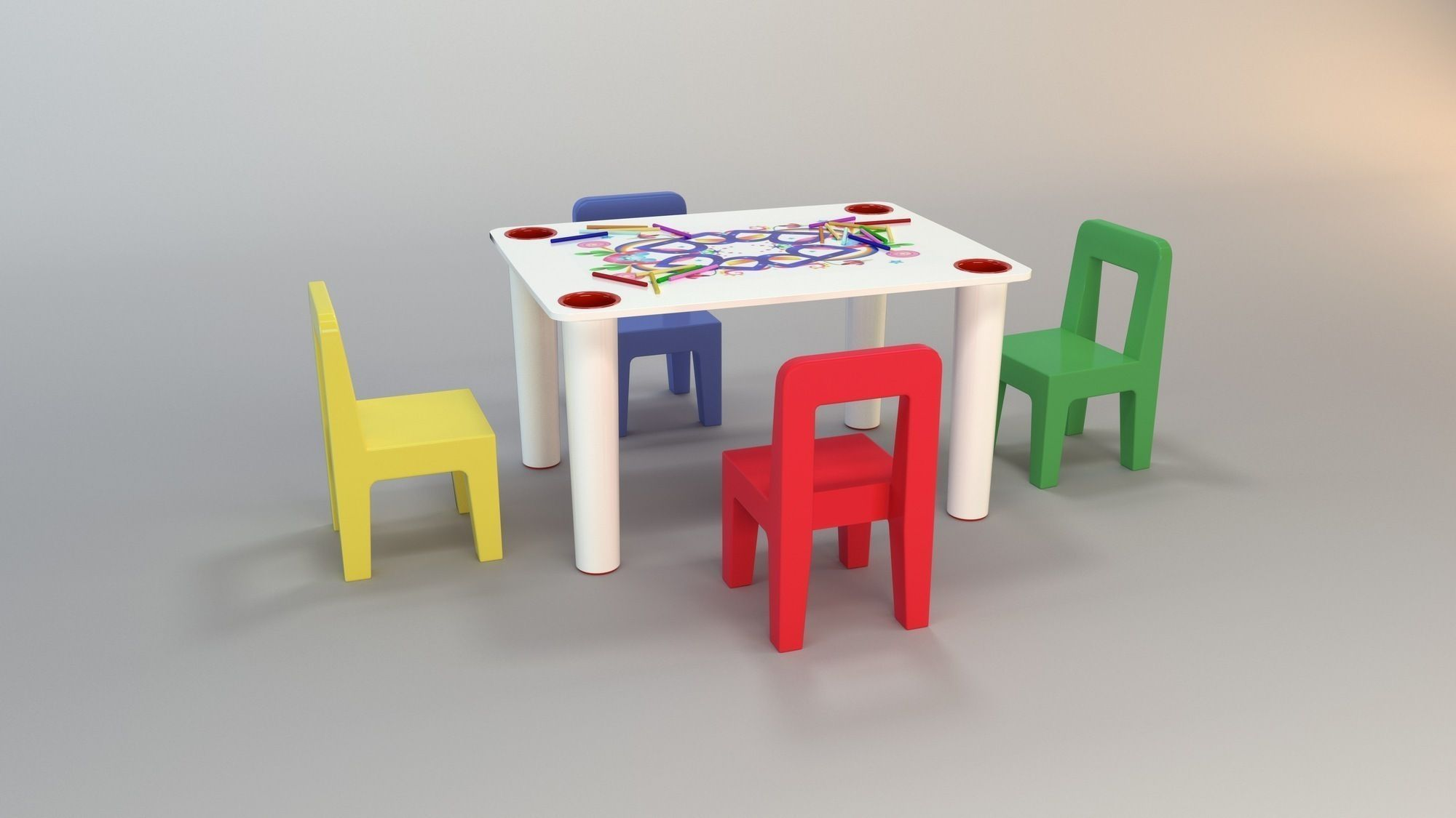 Child Play Table 3d Model Max Obj 3ds Fbx 1 ...