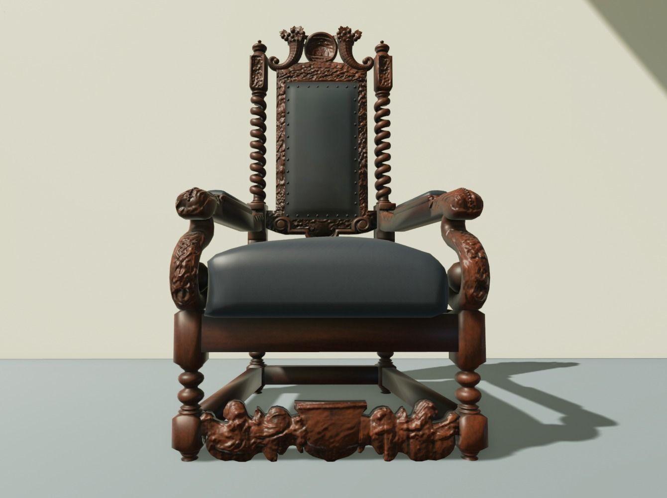 ... antique throne chair 3d model obj mtl 2 ... - 3D Model Antique Throne Chair CGTrader