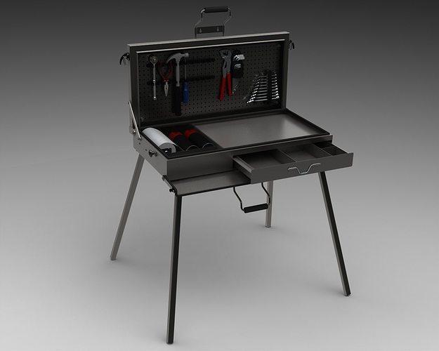 3d Model Portable Desk Tool Case Cgtrader