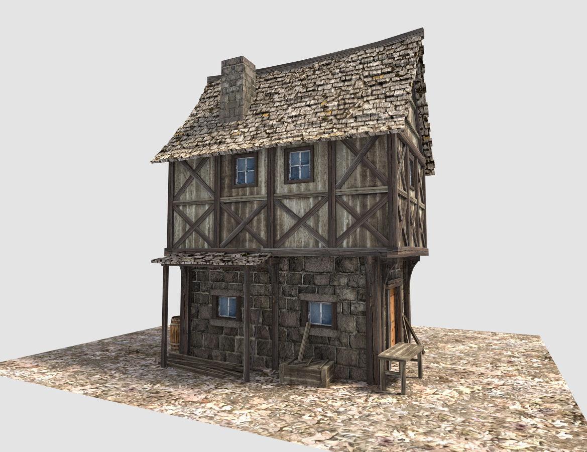 Medieval City House 3d Model Obj 3ds Fbx Blend Dae X3d 6