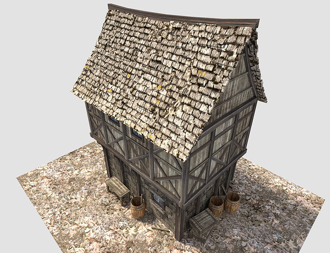 Medieval City House 3d Model Obj 3ds Fbx Blend Dae X3d 2