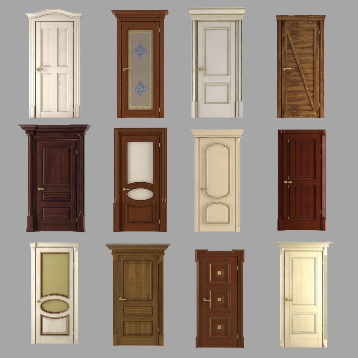 Classic doors collection 3d model max obj 3ds fbx for Door 3d model
