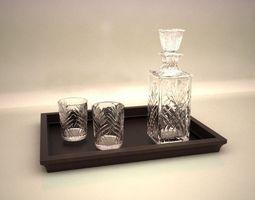 3D model Bottle of whiskey with glasses