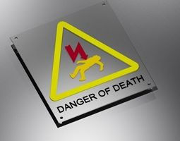 3D printable model warning electricity danger sign