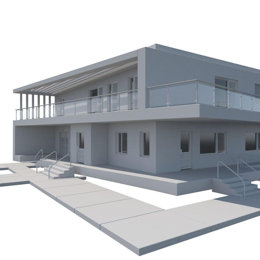 Modern minimalistic house 3d model max obj mtl for Minimalist house 3d model