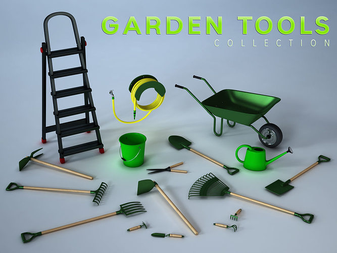 garden tools collection 3d model obj mtl fbx ma mb tga 1