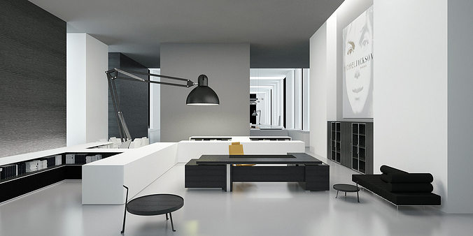 Modern office interior commercial 3d model cgtrader for Office table 3d design