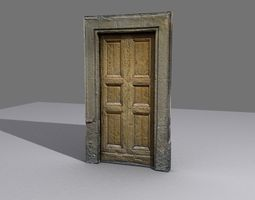 Door 8 Wooden with stone frame 3D asset