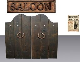 door 28 with saloon sign and wanted poster 3d asset game-ready