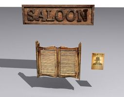 low-poly door 29 with saloon sign and wanted poster 3d model