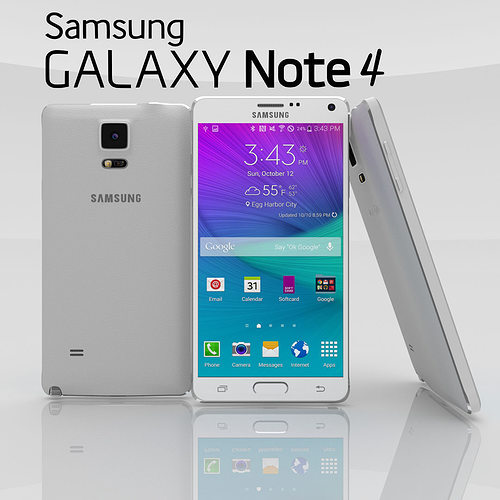 samsung galaxy note 4 frosted white 3d model obj mtl blend 1
