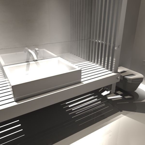 3d Model Bathroom Styl Vr Ar Low Poly Obj Fbx Ma Mb Mtl