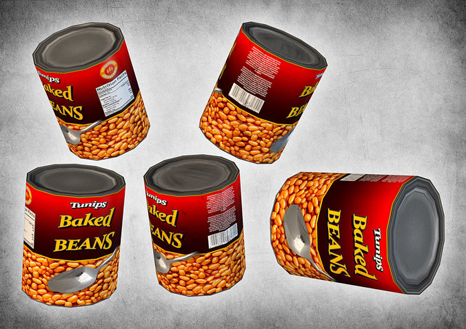 canned beans 3d model low-poly max obj mtl 3ds fbx dxf dae 1