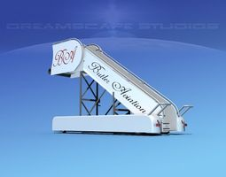 3d model rigged airport stairs butler aviation