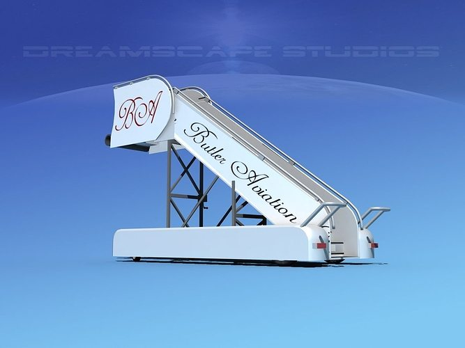 airport stairs butler aviation 3d model rigged max obj 3ds lwo lw lws dxf stl 1
