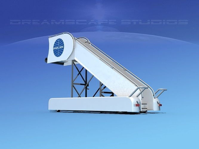 airport stairs pan am 3d model rigged max obj 3ds lwo lw lws dxf stl 1