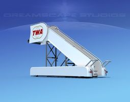 rigged airport stairs twa 3d