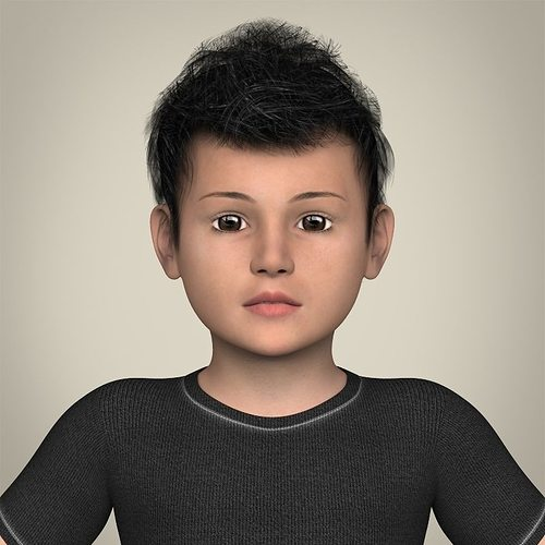 realistic little boy 3d model max obj mtl 3ds fbx c4d lwo lw lws 1