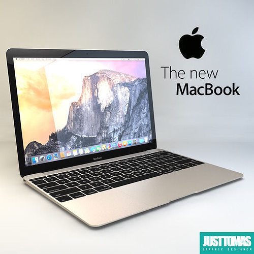 apple macbook 2015 3d model obj 3ds c4d 1